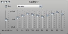 iTunes equalizer settings.