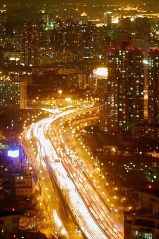 Blurred Shanghai Traffic iPhone Wallpaper