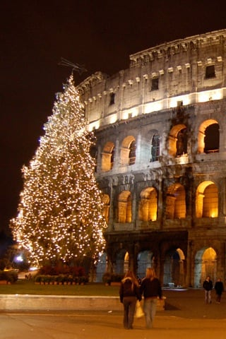 Rome Christmas Colosseum iPhone Wallpaper