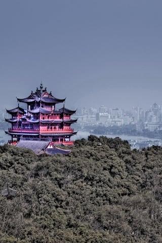 Hangzhou HDR Pagoda iPhone Wallpaper