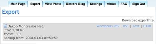 BlogBackupr Export View