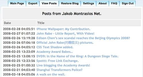 BlogBackupr View Posts